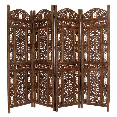 Handcrafted Wooden 4 Panel Room Divider Screen with Tiny Bells Reversible