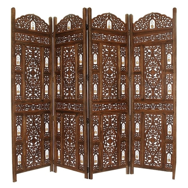 Handcrafted Wooden 4 Panel Room Divider Screen with Tiny Bells Reversible. Opens flyout.