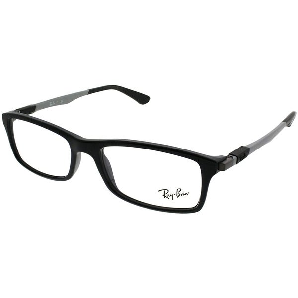 8166386dc2608 Ray-Ban Rectangle RX 7017 2000 Unisex Shiny Black Frame Eyeglasses