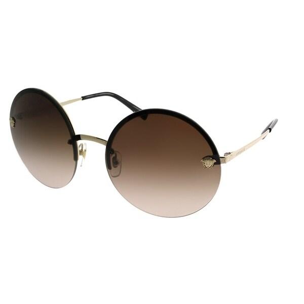 4371393d42d07 Versace Round VE 2176 125213 Unisex Pale Gold Frame Brown Gradient Lens  Sunglasses