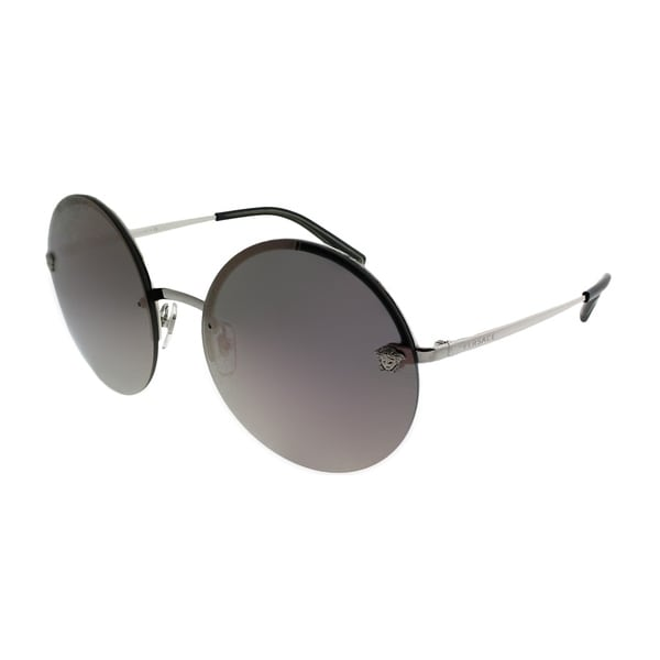 f1c62a06157b Versace Round VE 2176 10005R Unisex Silver Frame Pink Mirror Lens Sunglasses