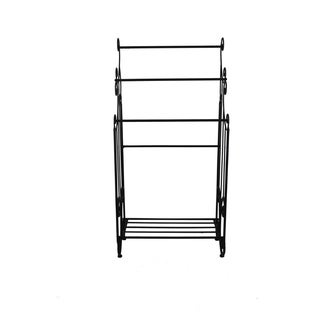 Benzara Free Standing Three Bar Towel Rack Stand With Shelf, Black