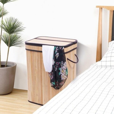 Folding Bamboo Laundry Basket Hamper with Lid and Removable Lining