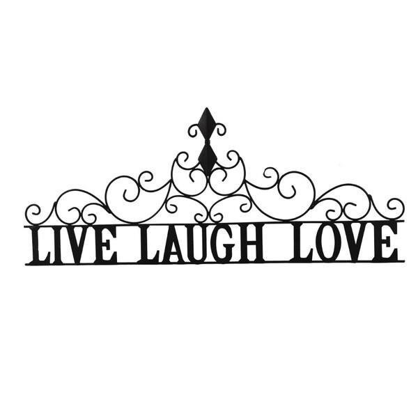 Shop Benzara Live laugh Love Metal Wall Decor, Black - Free Shipping ...