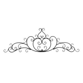 Benzara Black Wrought Iron Metal Wall Plaque with Decorative Scroll