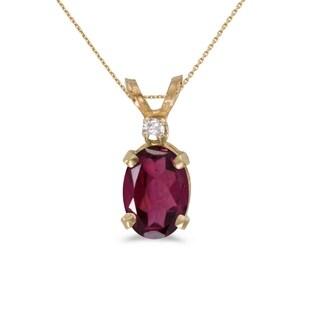 14k Yellow Gold Oval Rhodolite Garnet And Diamond Pendant