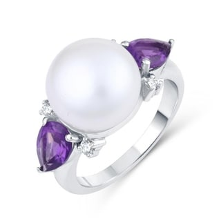 Sterling Silver With Freshwater Pearl Natural Amethyst And Natural White Topaz Three Stone Ring