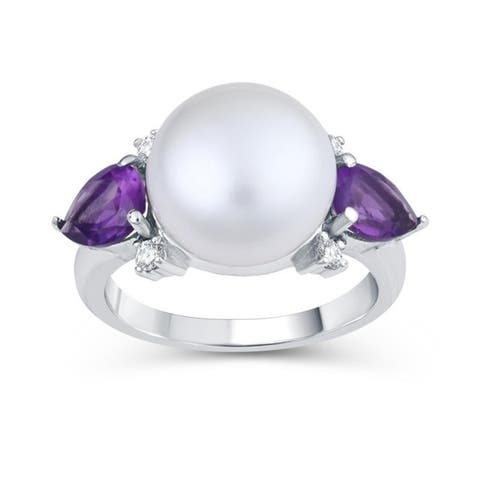 Sterling Silver with Freshwater Pearl, Natural Amethyst and Natural White Topaz Three Stone Ring