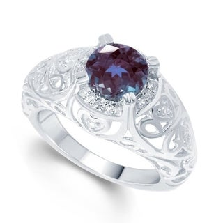 Sterling Silver Color Changing Alexandrite & White Topaz Solitaire Ring