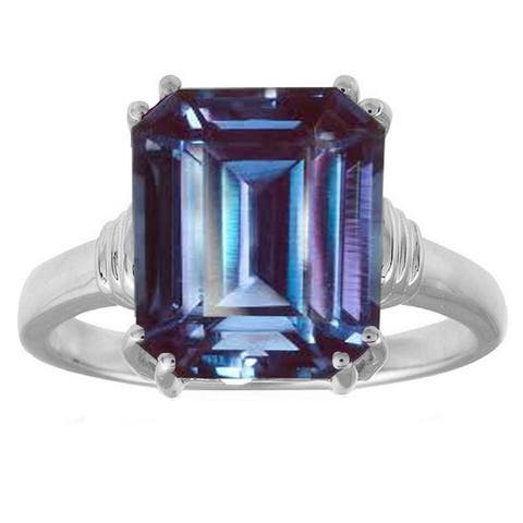 Sterling Silver Color Changing Octagon Alexandrite Solitaire Ring