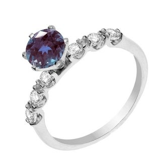 Sterling Silver Color Changing Alexandrite and White Topaz Engagement Ring