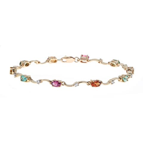 10K YG Multi Tourmaline & Diamond Bracelet by Anika and August
