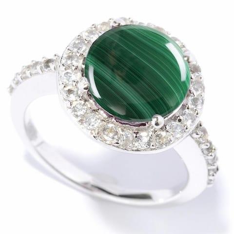 Sterling Silver Malachite & White Topaz Halo Ring