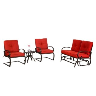 4 Piece Metal Conversation Set Cushioned Outdoor Furniture Patio Wrought Iron Conversation Set, Brick Red