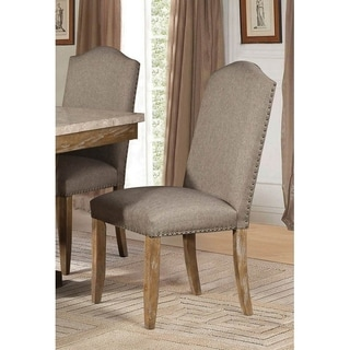 Wood & Fabric Dining Side Chair with Nail head Trim, Weathered Wood & Brown, Set of 2