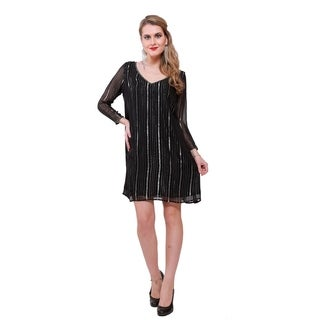 Qurvii Embellished Neck Silver stripe Dress (4 options available)