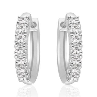 14K White Gold 1/4ct TDW Diamond Huggie Earrings (I-J, I1)