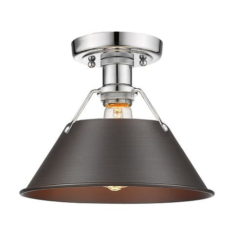 Orwell CH Flush Mount in Chrome with Rubbed Bronze Shade