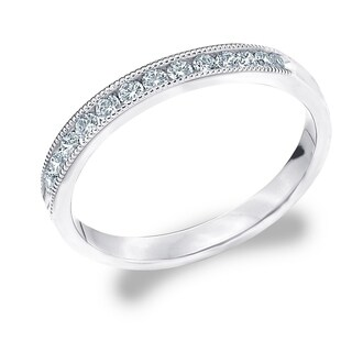 Amore Platinum 0.25 CTTW Diamond Wedding Band or Anniversary Ring with Milgrain (More options available)