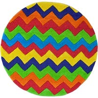 KAS Kidding Around Cool Ziggy Zaggy Round Rug - multi - 3'