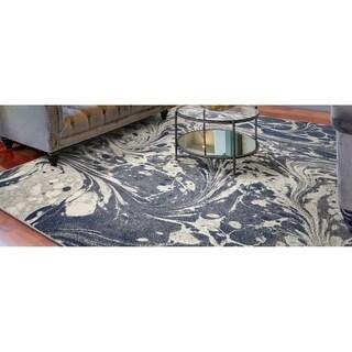 KAS Watercolors Grey Marble Rug - 6'7 x 9'6