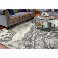 KAS Watercolors Ivory/Grey Landscape Rug - 6'7 x 9'6