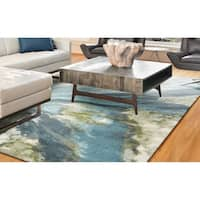KAS Watercolors Teal Abstract Rug - 6'7 x 9'6