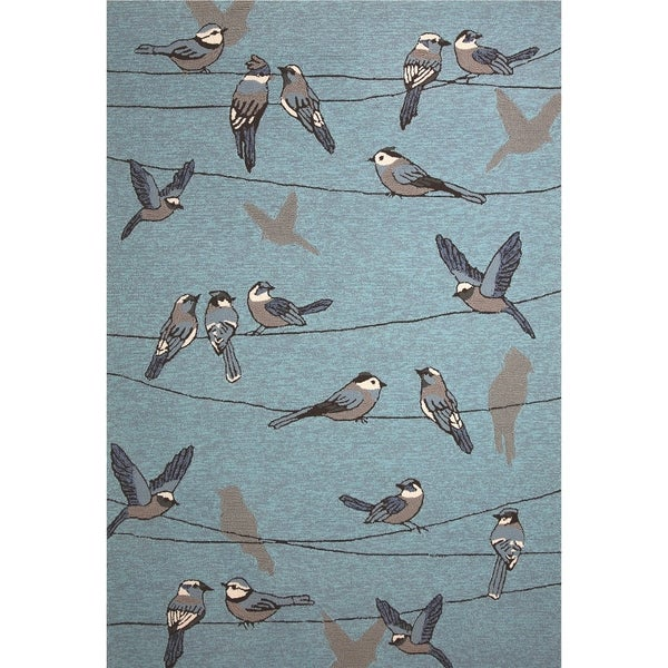 Shop Kas Harbor Blue Birds On A Wire Rug 5 X 76 On Sale Free
