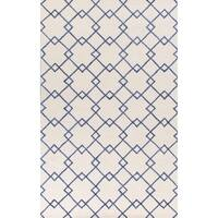 KAS Rugs Impressions Ivory/Blue Viscose and Wool Courtyard Area Rug - 5' x 7'6