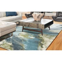 Porch & Den Hamlet Teal Abstract Marbled Rug