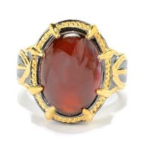Michael Valitutti Palladium Silver Men's Hessonite Garnet Milgrain Halo Ring