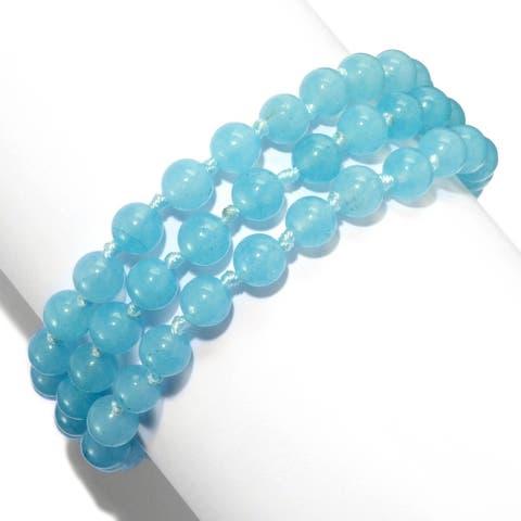 Gems en Vogue Palladium Silver Aquamarine & Swiss Blue Topaz Three-Row Beaded Bracelet