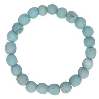 Handmade Global Mamas Glass Pearls Bracelet Light Blue (Ghana)