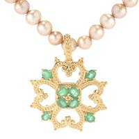 Michael Valitutti Palladium Silver Emerald & Diamond Pendant