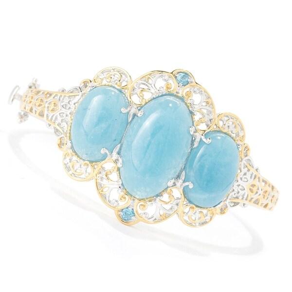 Michael Valitutti Palladium Silver Aquamarine & Swiss Blue Topaz Hinged Bangle Bracelet