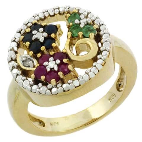 Glitzy Rocks 18k Gold over Sterling Silver Multi Gemstone Ring