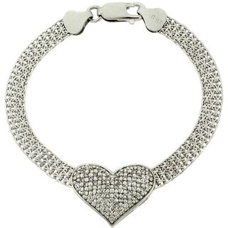Link to Icz Stonez Sterling Silver CZ Heart Mesh Chain Bracelet Similar Items in Necklaces