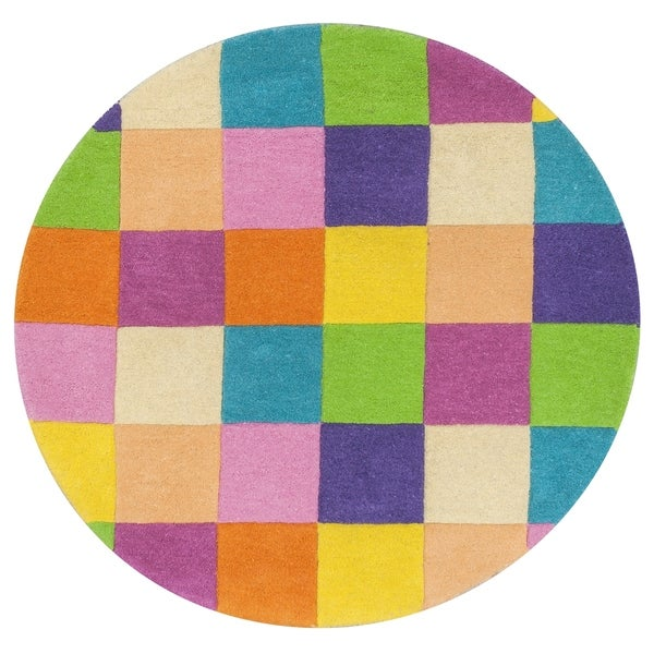 68784c13db61aa Shop KAS Kidding Around Girl's Color Blocks Round Rug - 3' - Free Shipping  Today - Overstock - 21917427