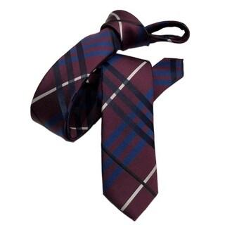 DMITRY Maroon Patterned Italian Silk Skinny Tie