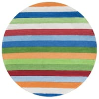 KAS Kidding Around Cool Stripes Round Rug - 3'