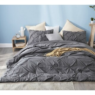 BYB Granite Gray Pin Tuck Comforter