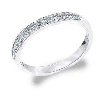Amore 18K White Gold 0.25 CTTW Diamond Wedding Band or Anniversary Ring with Milgrain (More options available)