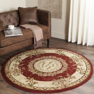 Safavieh Lyndhurst Collection Aubussons Red/ Ivory Rug - 8' x 8' Round
