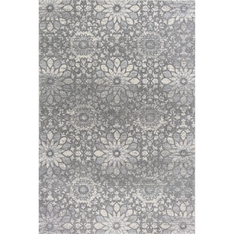 KAS Rugs Relic Charcoal/Grey Chenille Mosaic Area Rug