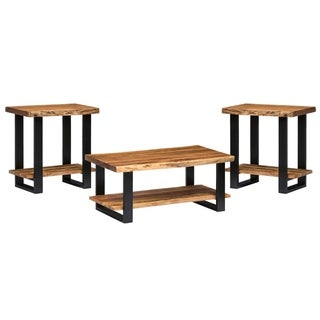 """Alpine Live Edge Solid Wood 42"""" Coffee Table and Set of 2 End Tables"""
