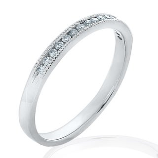 Amore 18K White Gold 0.125 CTTW Diamond Wedding Band or Anniversary Ring with Milgrain