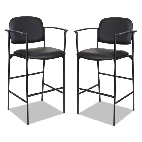 Alera Sorrento Series Stool, Black, Faux Leather, with Arms, 2 per carton