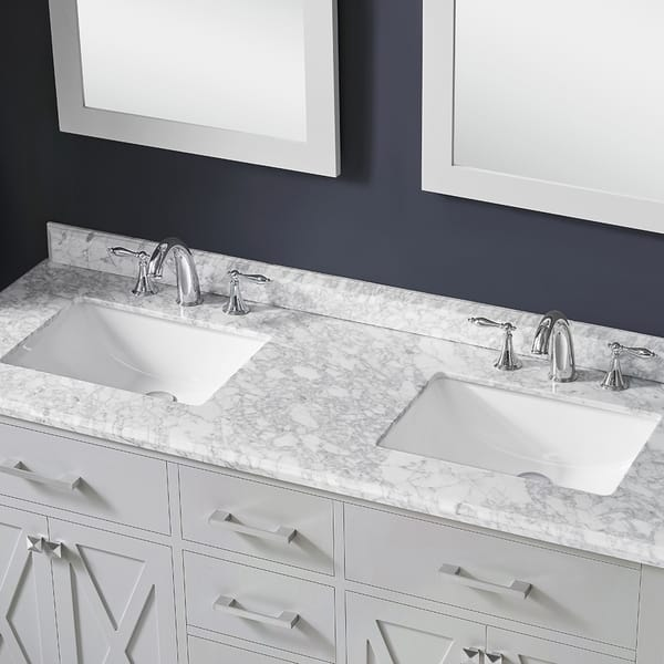 Xena 60 Dove Gray Double Sink Vanity With Carrara Marble Top Overstock 21920114