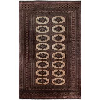 eCarpetGallery Hand-knotted Peshawar Bokhara Blue, Cream Wool Rug - 3'1 x 4'11