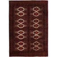 eCarpetGallery  Hand-knotted Shiravan Bokhara Dark Red Wool Rug - 4'2 x 6'1